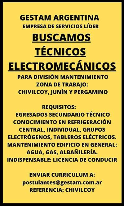 Gestam Argentina BUSCAMOS TÉCNICOS ELECTROMECÁNICOS